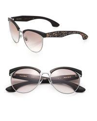 Miu Miu | Black Oversized 56mm Round Sunglasses | Lyst