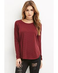 Forever 21 | Purple Striped Long Sleeve Tee | Lyst
