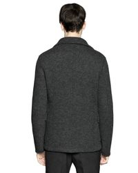 Z Zegna - Gray Boiled Wool Jersey Peacoat for Men - Lyst