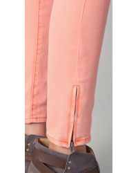 Free People | Pink Milenium Cropped Colored Skinny Jeans | Lyst