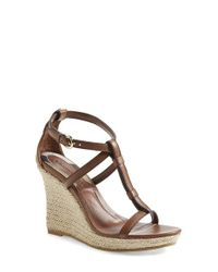 Burberry - Brown 'wedland' Espadrille Wedge Sandal - Lyst