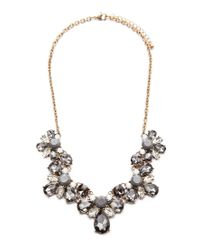Forever 21 | Gray Floral Faux Gem Necklace | Lyst