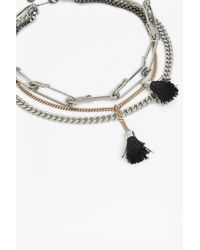 French Connection - Metallic Multi Row Necklace - Lyst