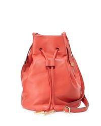Halston - Orange Leather Bucket Bag - Lyst