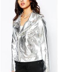 Faux London Metallic Leather Look Biker Jacket In Silver