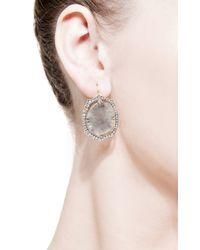 Sylva & Cie - Gray One Of A Kind Rough Diamond Slice Studs - Lyst