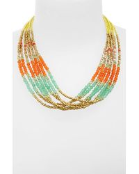 Panacea | Yellow Multistrand Beaded Necklace | Lyst