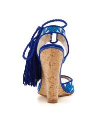 Paul Andrew - Blue Tiajin Suede Floral Wedges - Lyst