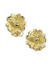 Judith Ripka - Metallic Gold And Diamond 'Dogwood' Flower Stud Earrings - Lyst