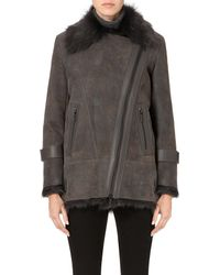 Karl Donoghue | Gray Shearling And Suede Asymmetric Jacket | Lyst