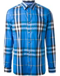 Burberry Brit - Blue 'exploded Check' Shirt for Men - Lyst