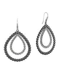 John Hardy | Metallic Classic Chain Silver Double Drop Pear-shape Earrings | Lyst