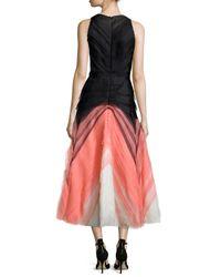 J. Mendel - Pink Degrade Pleated Tulle Halter Dress - Lyst