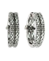 Effy | Metallic Balissima Textured Sterling Silver And Diamond Hoop Earrings | Lyst