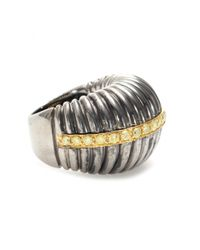 Roberto Marroni | Metallic Oxidized Sterling Silver Ring With Yellow Diamonds Set On 18kt Yellow Gold | Lyst