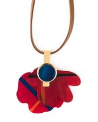 Marni - Red Flower Pendant Necklace - Lyst