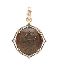 Sylva & Cie | Brown One Of Kind Czar Nicolas Ii Button Pendant Circa | Lyst