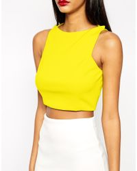 ASOS - Black Crop Top In Premium Fabric With Square Neck - Lyst