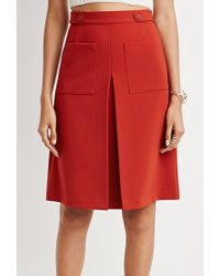 Forever 21 | Brown Inverted Front-pleat A-line Skirt | Lyst
