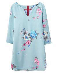 Joules - Blue Eva Floral Printed Tunic - Lyst
