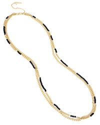 Kenneth Cole | Black Beaded Station Long Necklace | Lyst