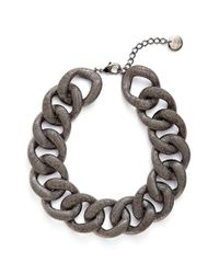 Pono | Metallic 'etched By Fire' Choker Necklace - Pewter | Lyst