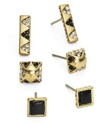 House of Harlow 1960 | Metallic Plateau Stud Earrings Set | Lyst