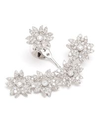 Yvonne Léon | White Diamond Flower Lobe Earring | Lyst