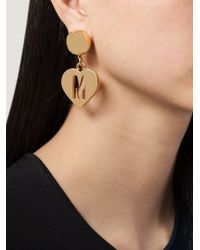 Moschino - Metallic Heart Clip On Earrings - Lyst