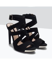 Zara | Black High Heel Sandals With Buckle | Lyst