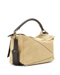 Loewe | Natural Puzzle Large Suede Tote | Lyst