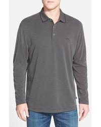Tommy Bahama - Gray 'pebble Shore' Island Modern Fit Long Sleeve Pique Polo for Men - Lyst