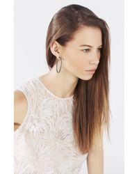 BCBGMAXAZRIA Metallic Pave Oval Hoop Earrings