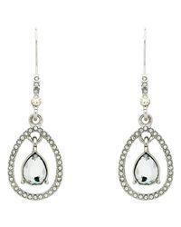 Monet - Metallic Teardrop Glass Crystal Open Drop Earrings - Lyst