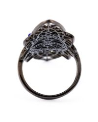 Joelle Jewellery - Blue Oversized Geometric Diamond Ring - Lyst