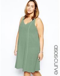 ASOS - Natural Exclusive Beach Swing Dress In Cheesecloth - Lyst