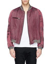 Haider Ackermann | Red Floral Sleeve Herringbone Linen-Silk Bomber Jacket for Men | Lyst