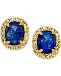 Kate Spade | Blue 14k Gold-plated Stone Pavé Crystal Earrings | Lyst