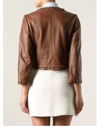 Dolce & Gabbana | Brown Studded Leather Jacket | Lyst
