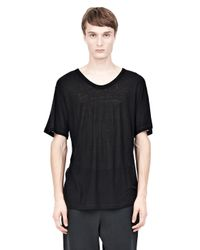 Alexander Wang Black Slub Rayon Silk Crewnecktee for men