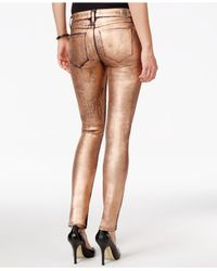 Guess - Metallic Power Skinny Copper Wash Jeans - Lyst