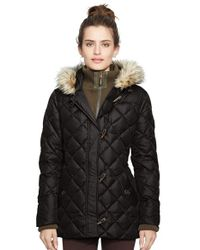 Lauren by Ralph Lauren | Black Faux Fur Trim Toggle Closure Quilted Down & Feather Fill Jacket | Lyst
