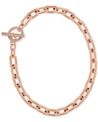 Michael Kors | Metallic Rose Gold-tone Toggle Necklace With Pavé Accents | Lyst