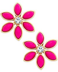 Kate Spade | Gold-Tone Pink Eyelet Garden Earrings | Lyst