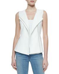 BCBGMAXAZRIA - White Mallary Tailored Asymmetric-Zip Vest - Lyst