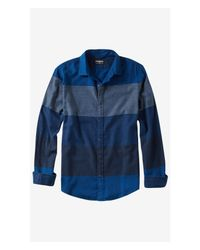 Express | Blue Flannel Mixed Stripe Shirt for Men | Lyst