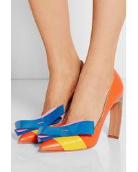 Nicholas Kirkwood - Orange + Roksanda Ilincic Bow-Embellished Leather Pumps - Lyst