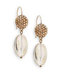 Saks Fifth Avenue | Metallic Pavã© & Glass Drop Earrings/gold | Lyst