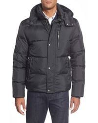 Cole Haan | Blue Quilted Jacket With Removable Hood for Men | Lyst