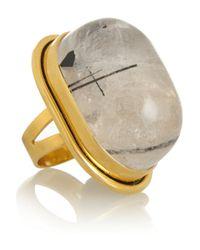 Saint Laurent | Gray Bague Cherry Gold-plated Quartz Ring | Lyst